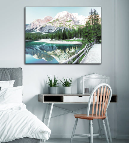 Landscape Decor Wall Art:  Mountain Trail (Wood Frame Ready To Hang)