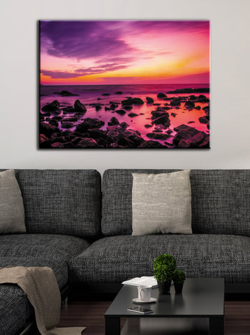 Landscape Decor Wall Art: Rocky Sunset (Wood Frame Ready To Hang)