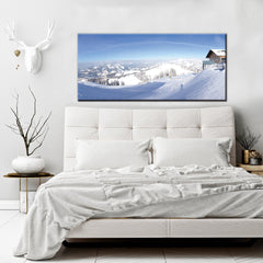 Landscape Decor Wall Art: Snow Mountains (Wood Frame Ready To Hang)