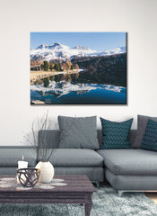 Landscape Decor Wall Art: Mountain Lake (Wood Frame Ready To Hang)