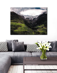 Landscape Decor Wall Art: Mountain Land View (Wood Frame Ready To Hang)
