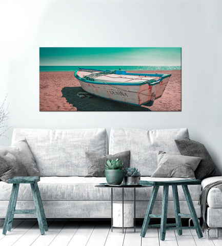 Landscape Decor Wall Art: Island Boat (Wood Frame Ready To Hang)