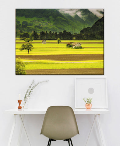 Landscape Decor Wall Art: Farm Field  (Wood Frame Ready To Hang)