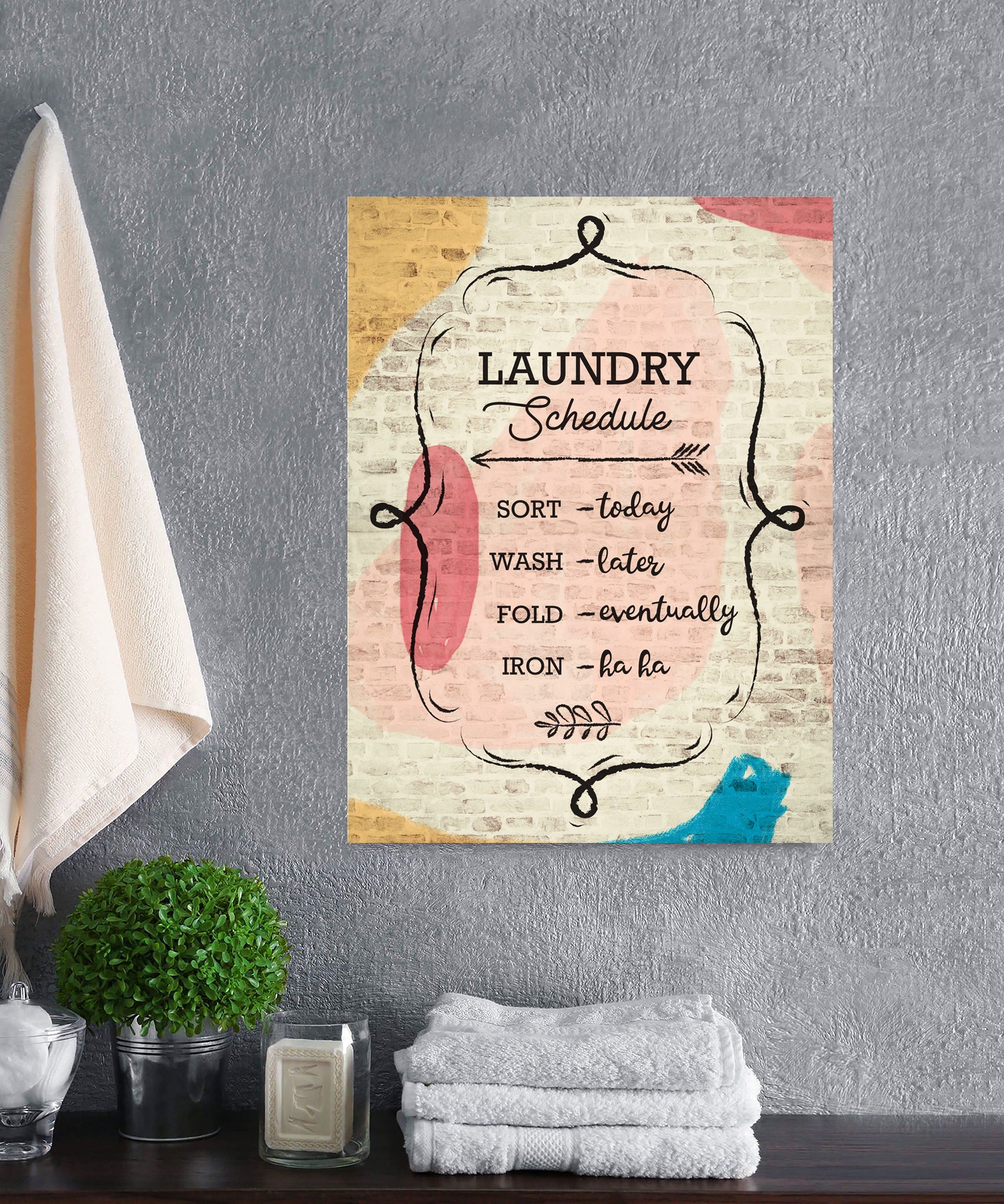 Laundry Room Wall Art: Laundry Schedule (Wood Frame Ready To Hang)