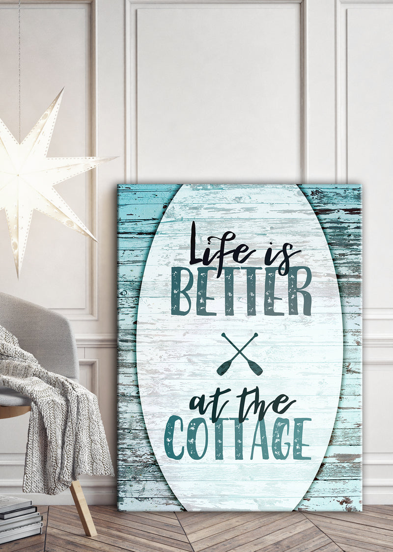 Cottage Life Art: Life is Better at the cottage (Wood Frame Ready To Hang)