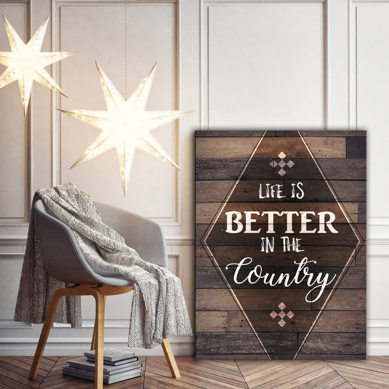 Home Wall Art: Life is Better in the Country Wall Art (Wood Frame Ready To Hang)