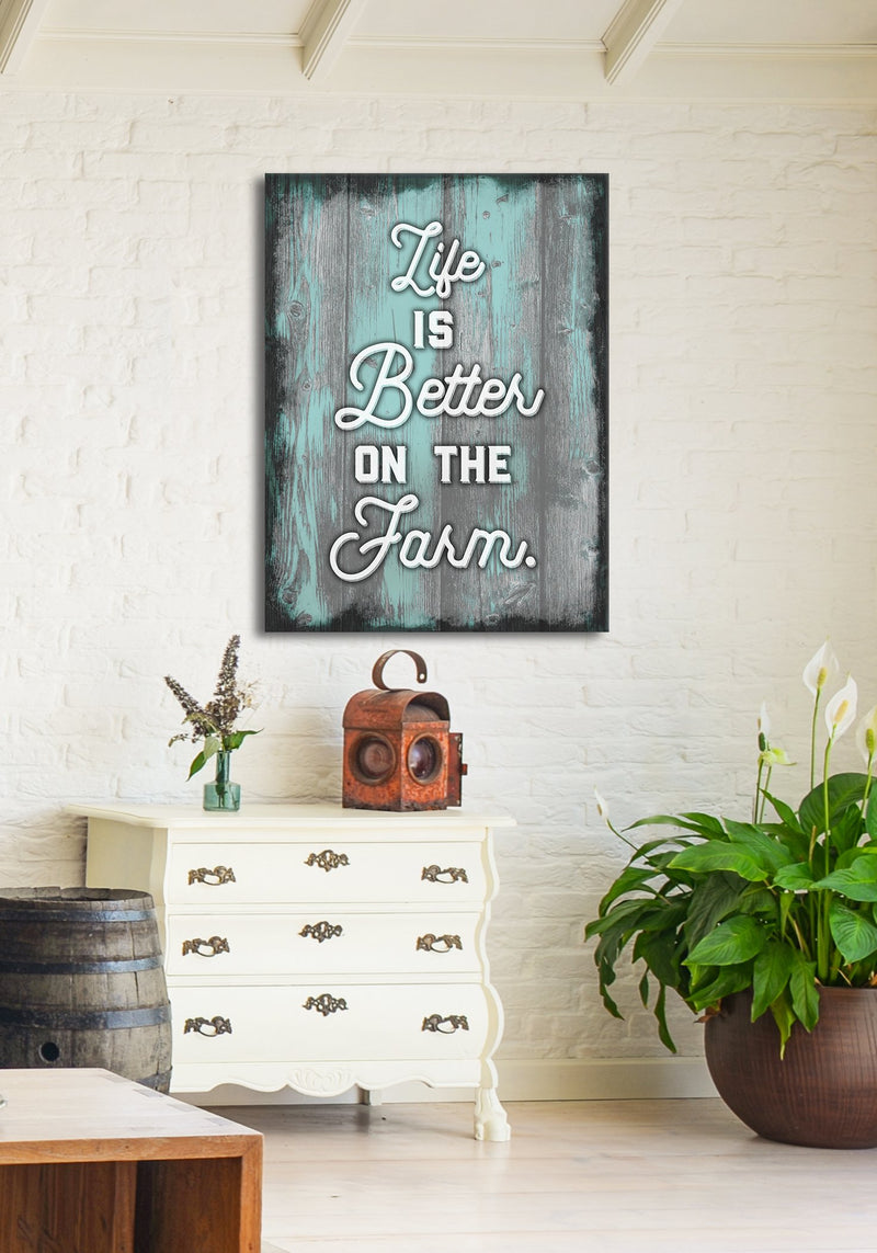 Farm Wall Art: Life Is Better Farm (Wood Frame Ready To Hang)