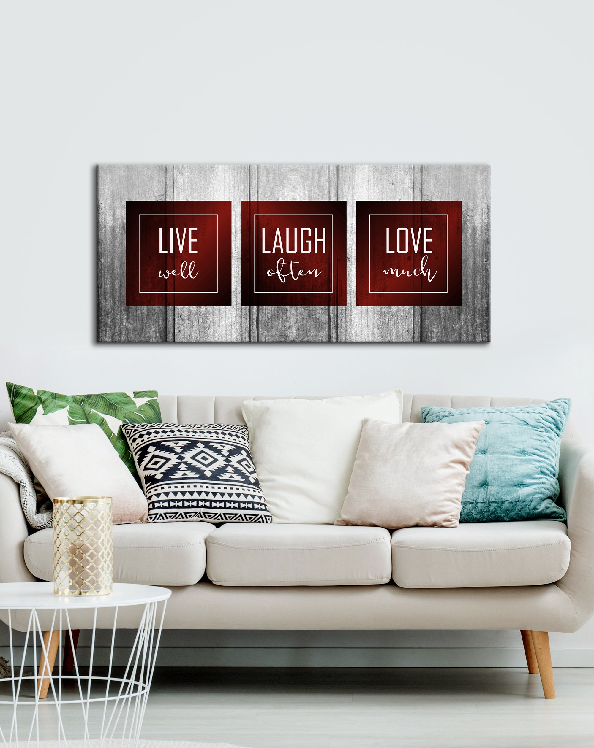 Bedroom Decor Wall Art: Live Laugh Love Bedroom  Large Wall Art 2 Sizes Available  (Wood Frame Ready To Hang)