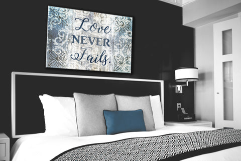 Bedroom Decor Wall Art: Love NEVER Fails (Wood Frame Ready To Hang)