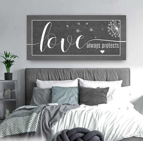 Couples Wall Art: Love Always Protect (Wood Frame Ready To Hang)