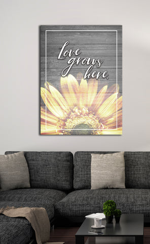 Home Decor Art: Love Grows Here (Wood Frame Ready To Hang)