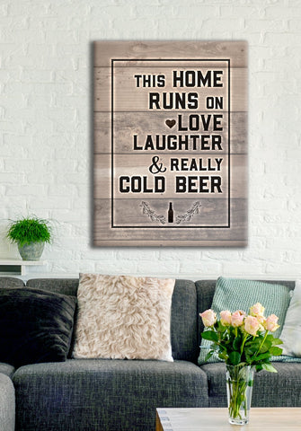 Home Wall Art: Love And Beer (Wood Frame Ready To Hang)