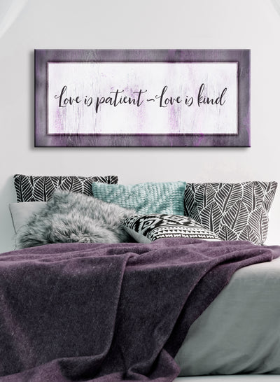 Bedroom Wall Art: Love Is Patient Love Is Kind V2 (Wood Frame Ready To Hang)