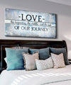 Couples Wall Art: Love The Beginning (Wood Frame Ready To Hang)