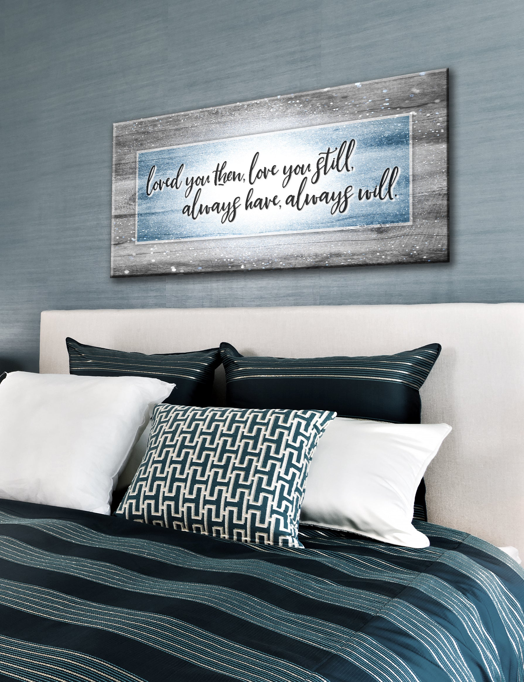 Couples Wall Art: Loved You Then Love You Still V6 (Wood Frame Ready To Hang)