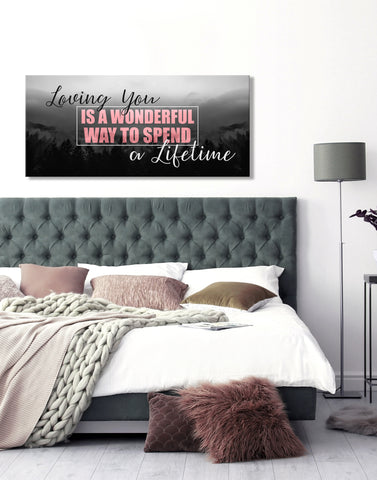 Couples Wall Art: Loving You Is A Wonderful Way V3 (Wood Frame Ready To Hang)