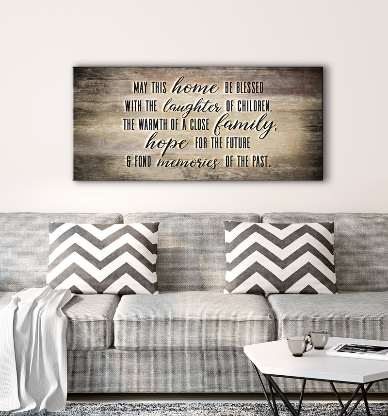 Home Wall Art: May This Home Be Blessed With Laughter V2 (Wood Frame Ready To Hang)