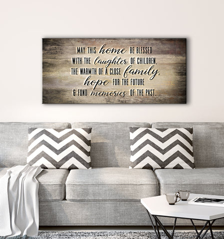 Home Decor Wall Art: May This Home Be Blessed With Laughter V2 (Wood Frame Ready To Hang)
