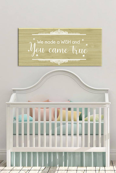 Baby Room Wall Art: Made A Wish (Wood Frame Ready To Hang)