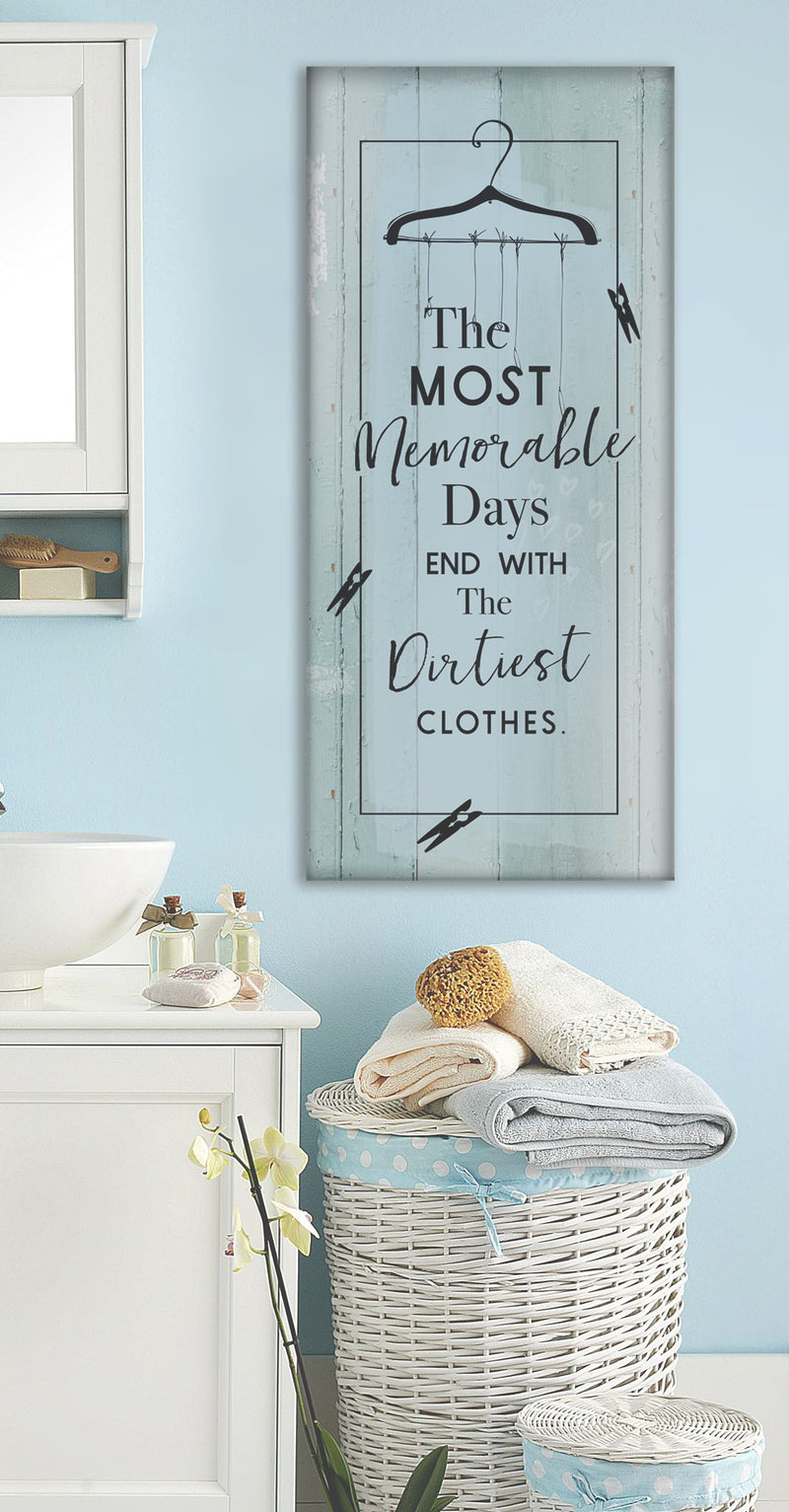 Laundry Room Wall Art: Most Memorable Days Laundry (Wood Frame Ready To Hang)