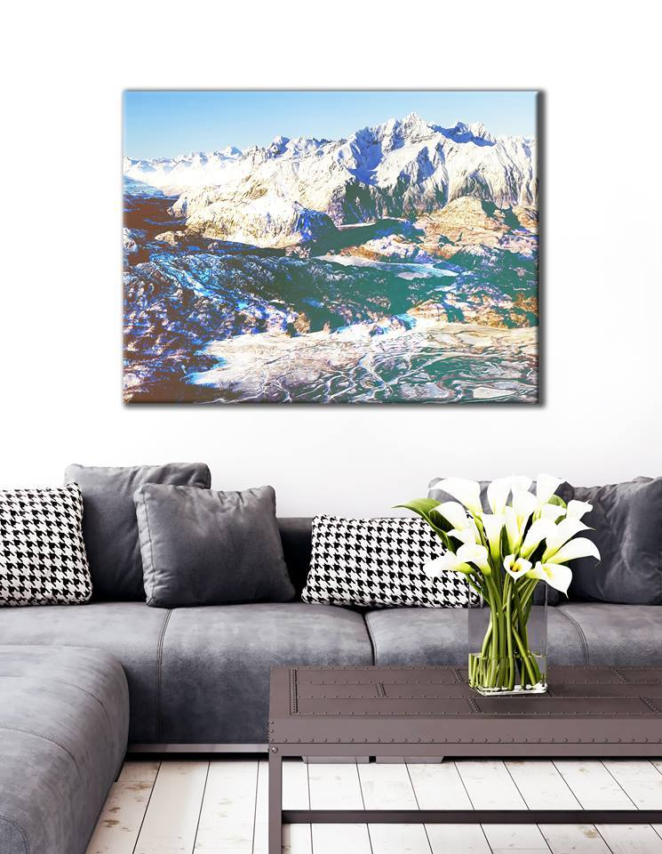 Abstract Wall Art: Mountain scene (Wood Frame Ready To Hang)