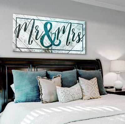 Couples Wall Art: Mr & Mrs (Wood Frame Ready To Hang)