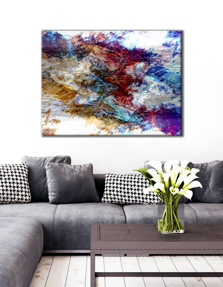 Abstract Wall Art: Multi color cloud (Wood Frame Ready To Hang)