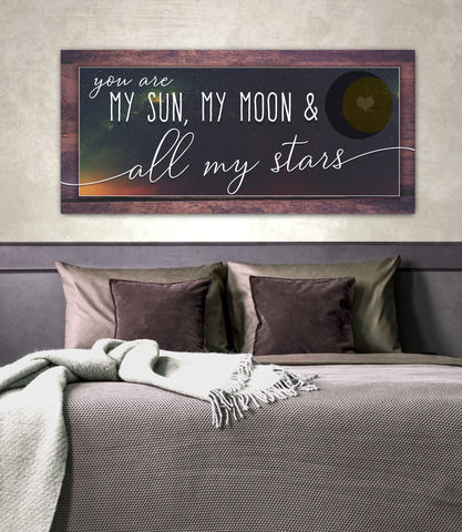 Couples Wall Art: My Sun My Moon & All My Stars (Wood Frame Ready To Hang)