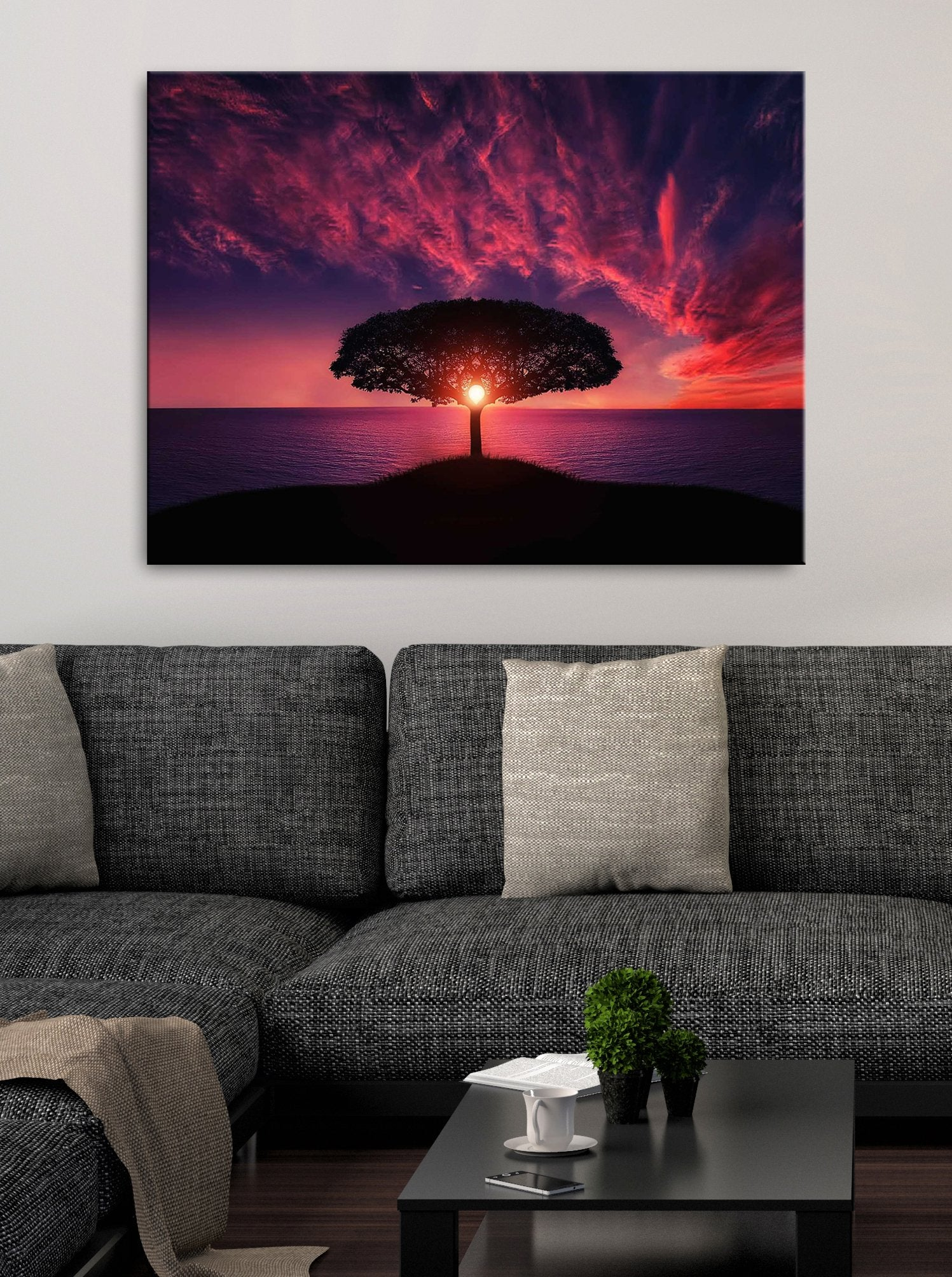 Nature Wall Art: Silhouette Sunset (Wood Frame Ready To Hang)