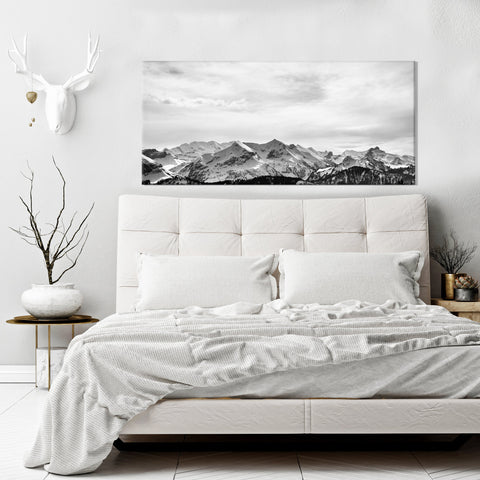 Nature Wall Art: Snowy Mountains (Wood Frame Ready To Hang)