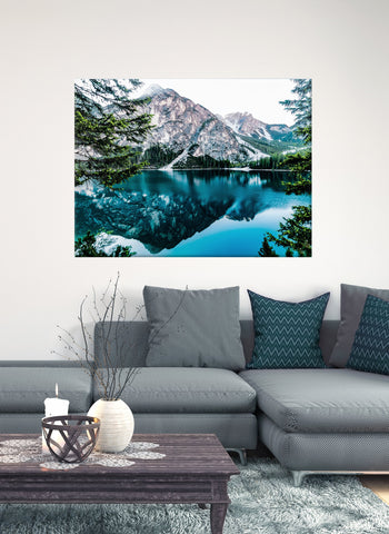 Nature Wall Art:  Mountain Lake Scene (Wood Frame Ready To Hang)