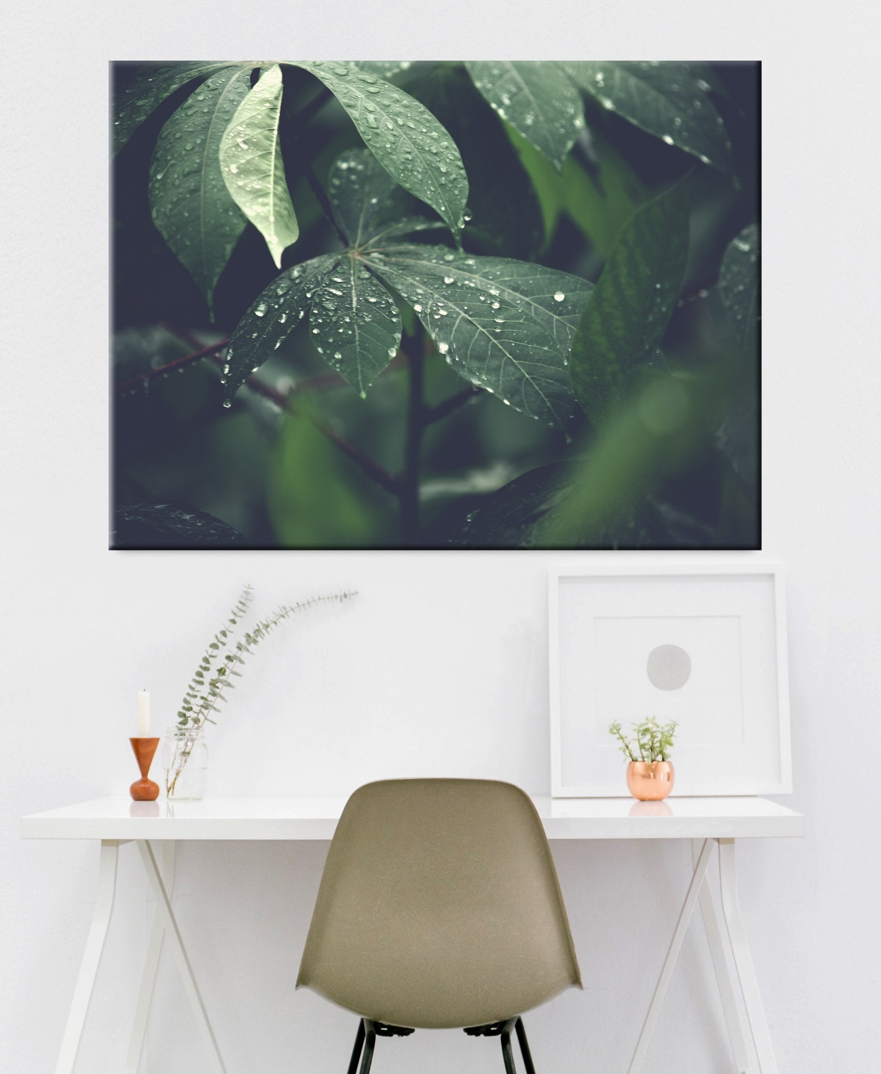 Nature Wall Art: Water Dripping Plant (Wood Frame Ready To Hang)