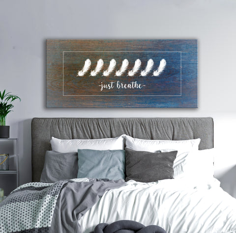 Feather Wall Art: Feather Just Breathe (Wood Frame Ready To Hang)