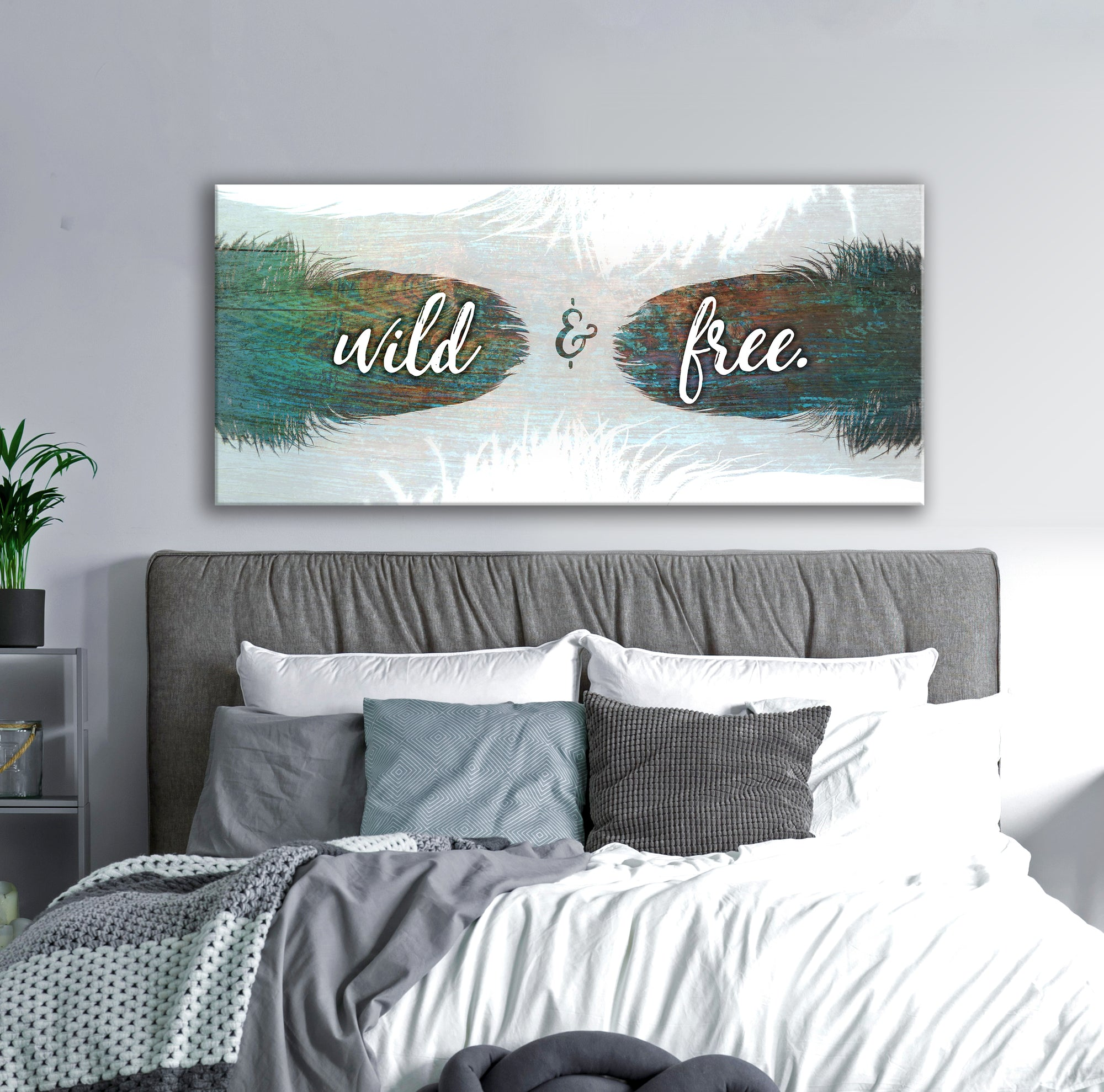 Feather Wall Art: Feather Wild and Free (Wood Frame Ready To Hang)