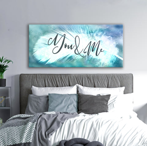Feather Wall Art: Feather You & Me (Wood Frame Ready To Hang)