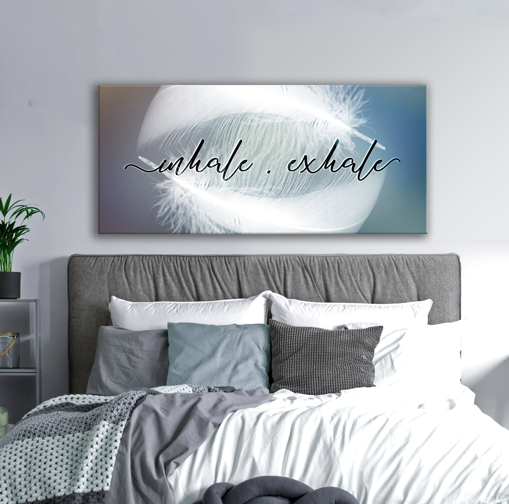 Feather Wall Art: Feather Inhale Exhale (Wood Frame Ready To Hang)