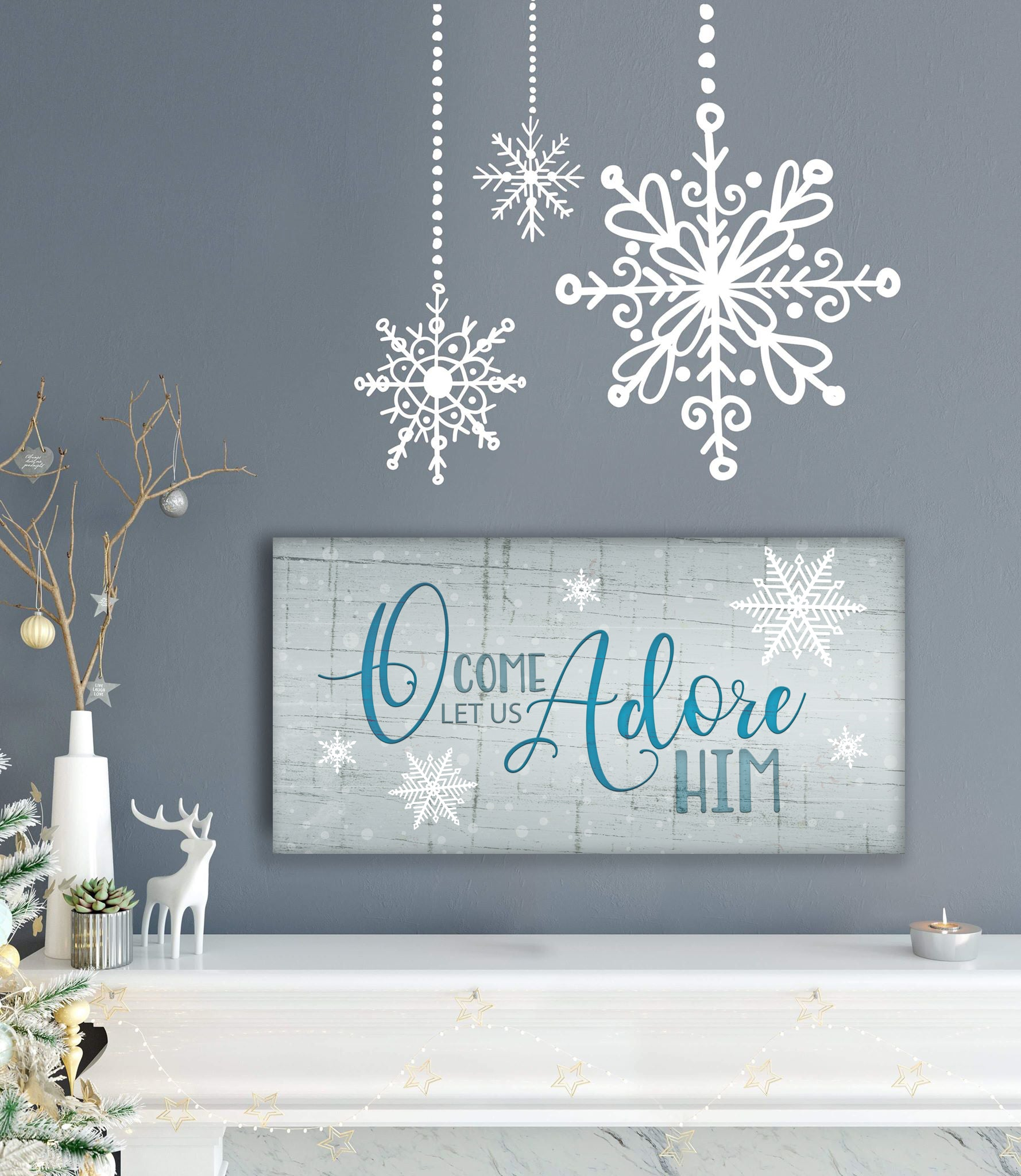 Holiday Decor Wall Art: O Come Let Us Adore Him (Wood Frame Ready To Hang)