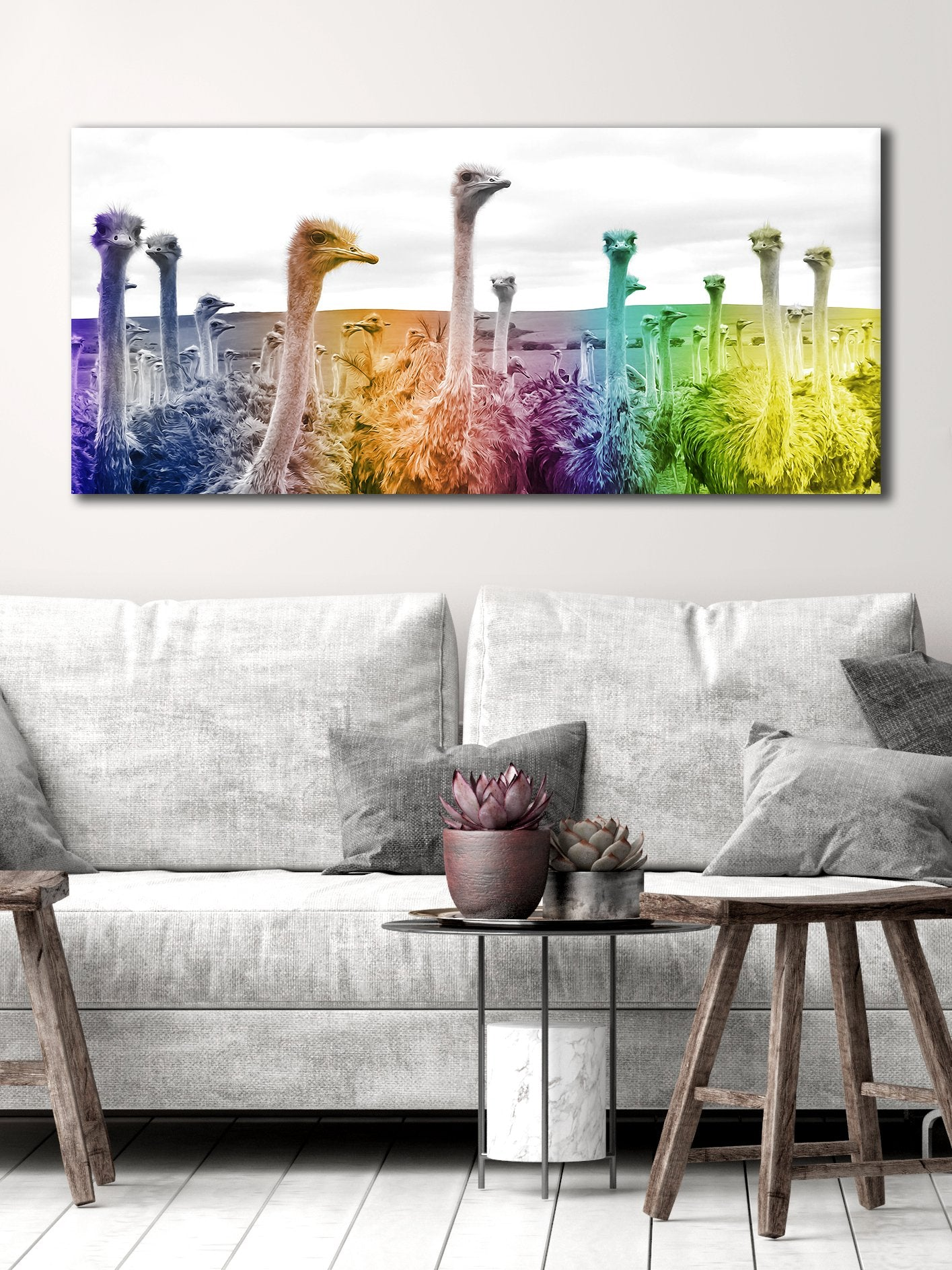 Bird Wall Art: Ostrich Rainbow (Wood Frame Ready To Hang)
