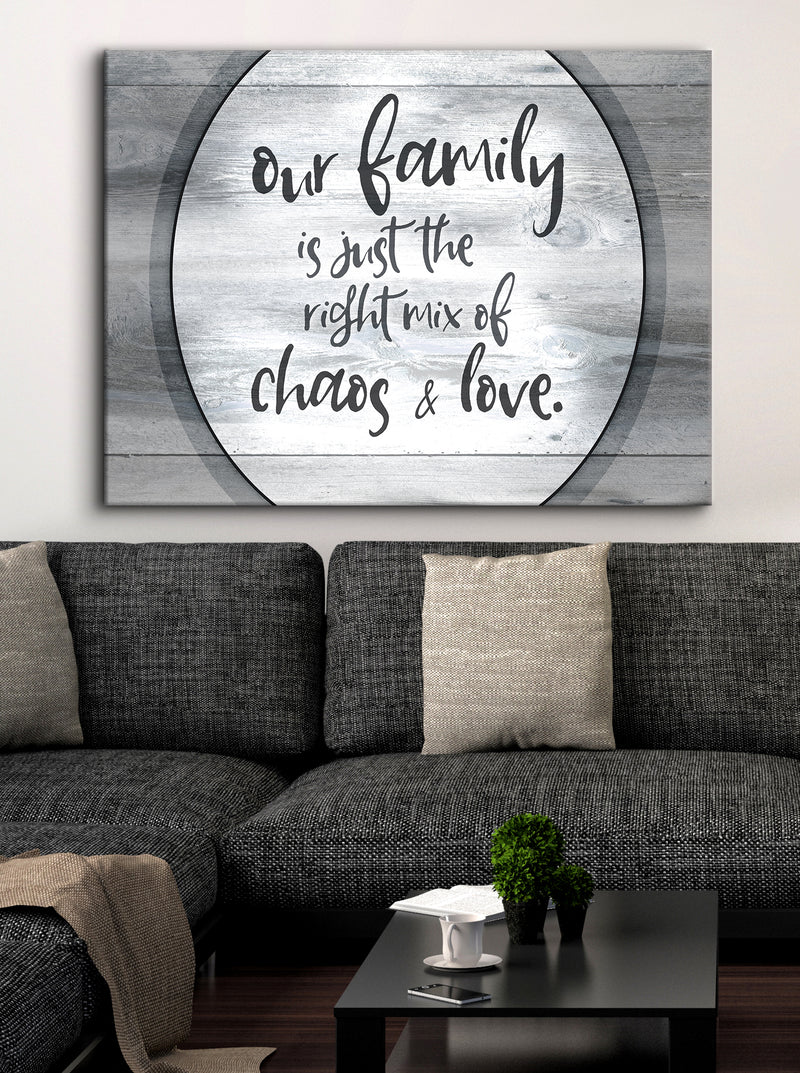 Family Wall Art: Our Family Is Just The Right Mix (Wood Frame Ready To Hang)