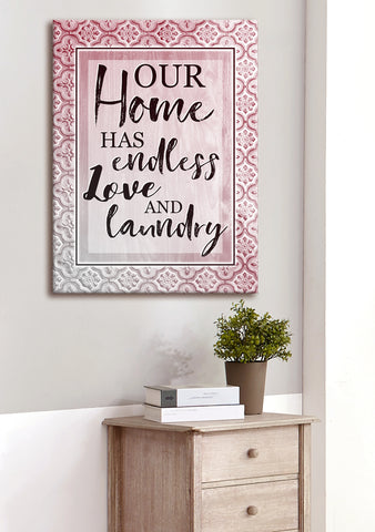 Home Wall Art: Our Home Has Endless Love And Laundry (Wood Frame Ready To Hang)