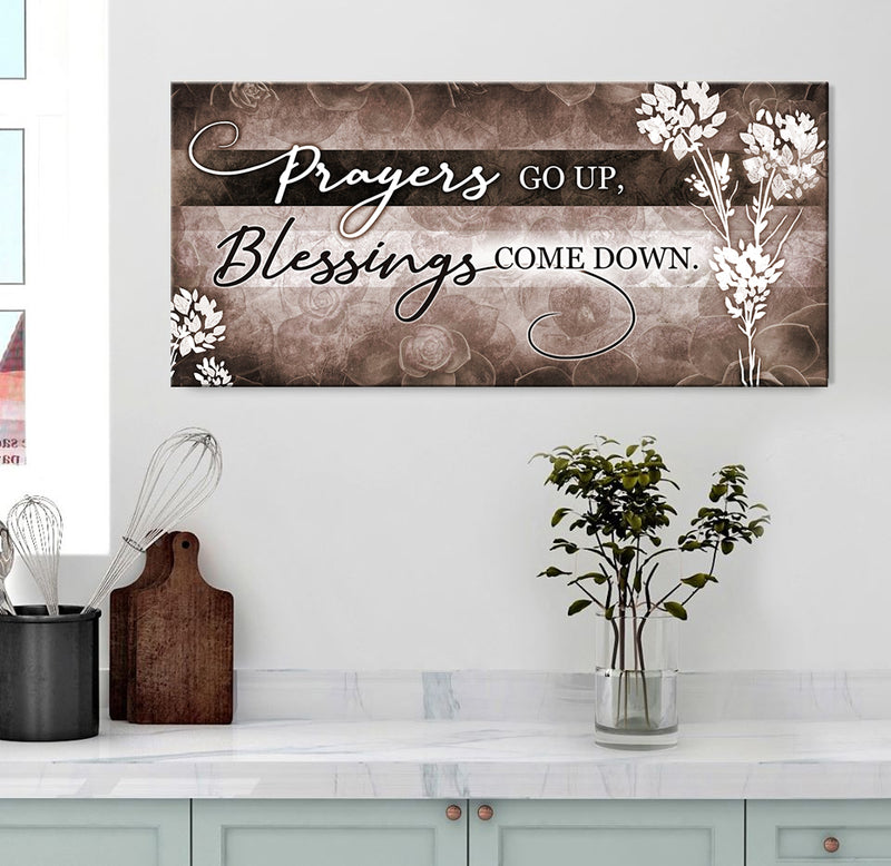 Christian Wall Art: Prayers Go Up V2 (Wood Frame Ready To Hang)