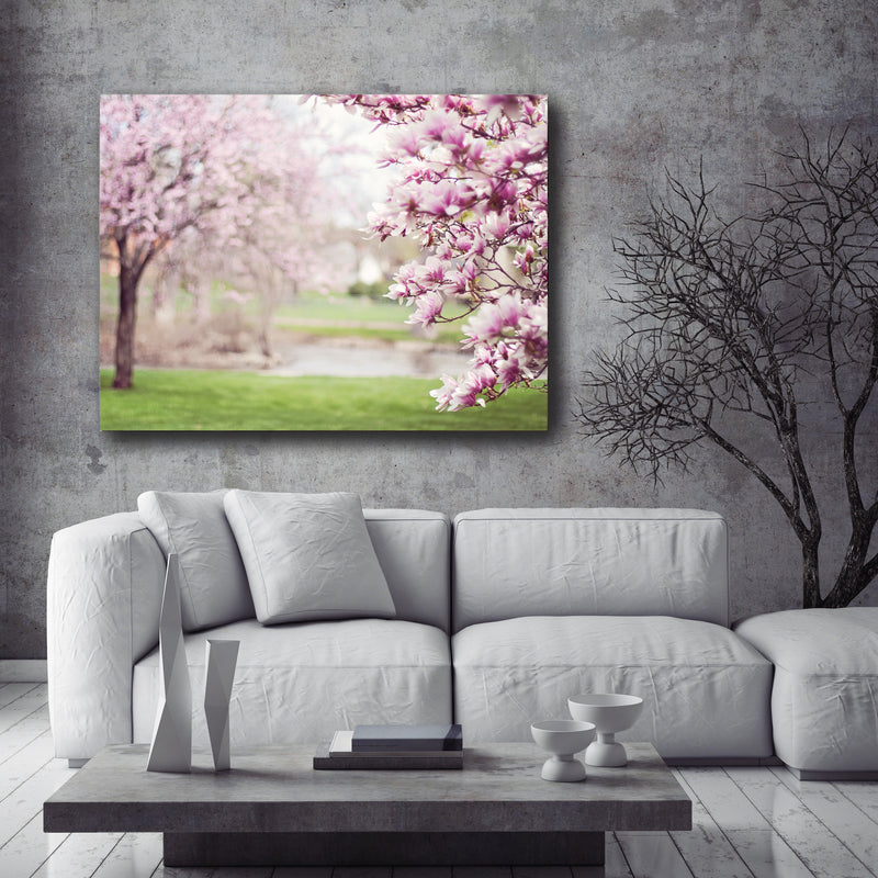 Flower Wall Art: Pink Cherry Blossom Tree (Wood Frame Ready To Hang)