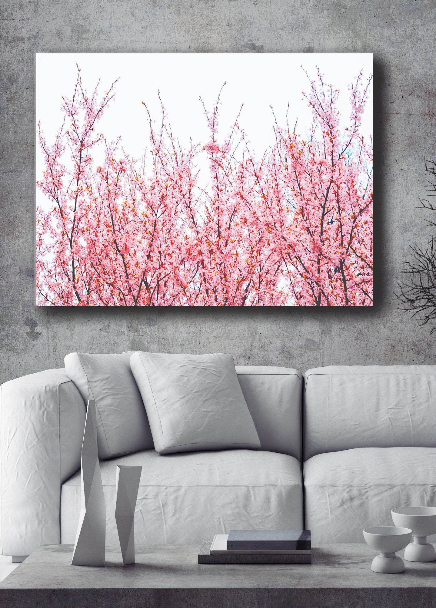 Nature Wall Art: Pink Blossom Branches (Wood Frame Ready To Hang)