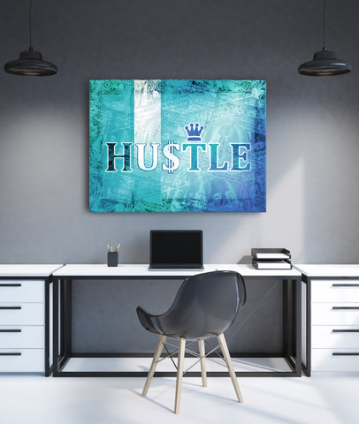 Powerful Women Wall Art: Hustle (Wood Frame Ready To Hang)