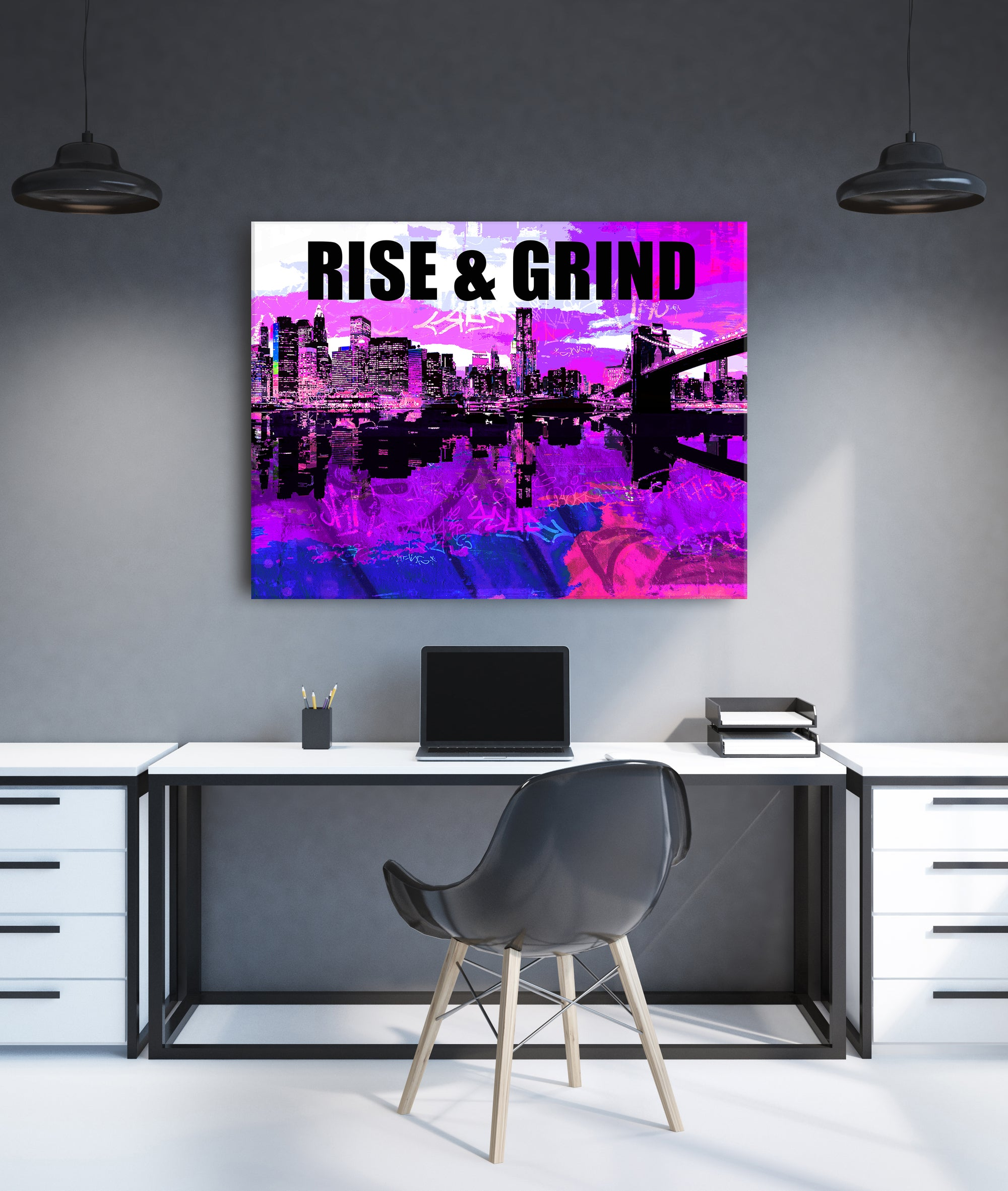 Powerful Women Wall Art: Rise And Grind (Wood Frame Ready To Hang)