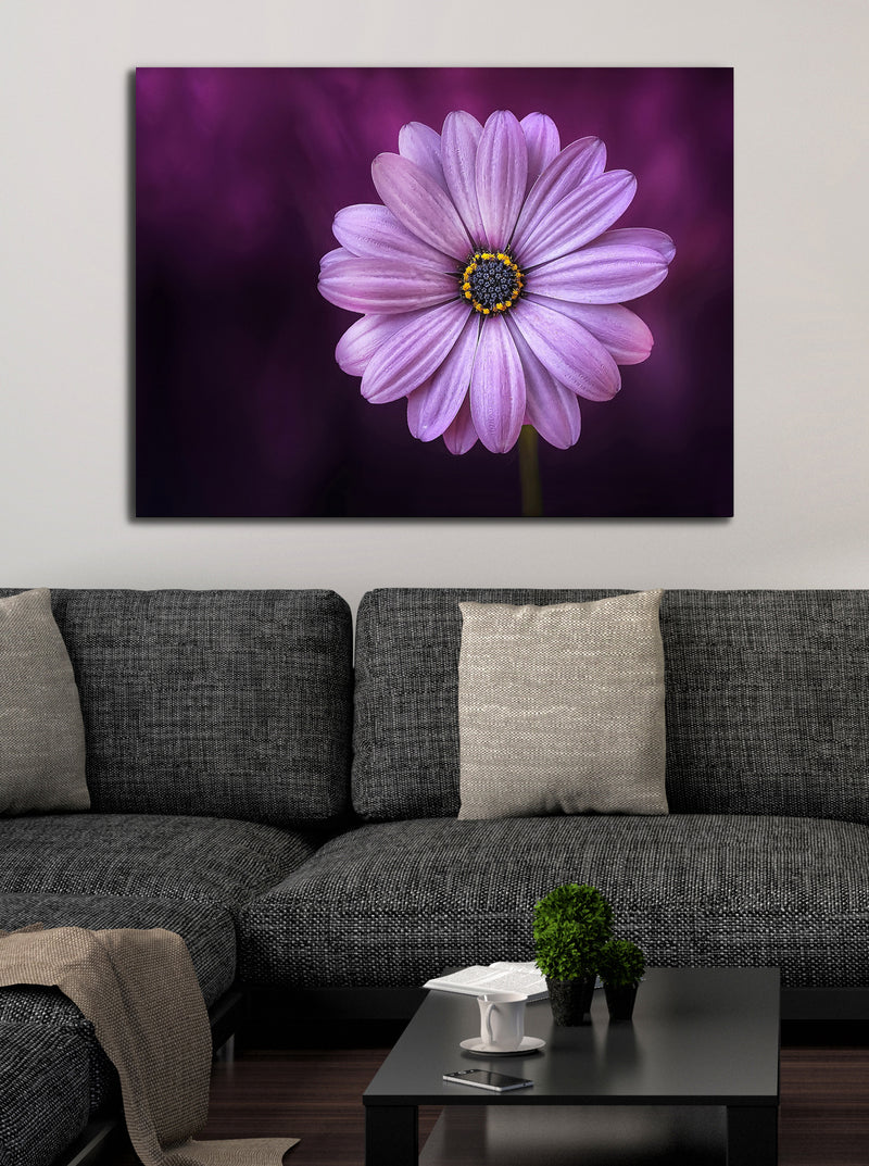 Flower Wall Art: Purple Bloom Flower (Wood Frame Ready To Hang)