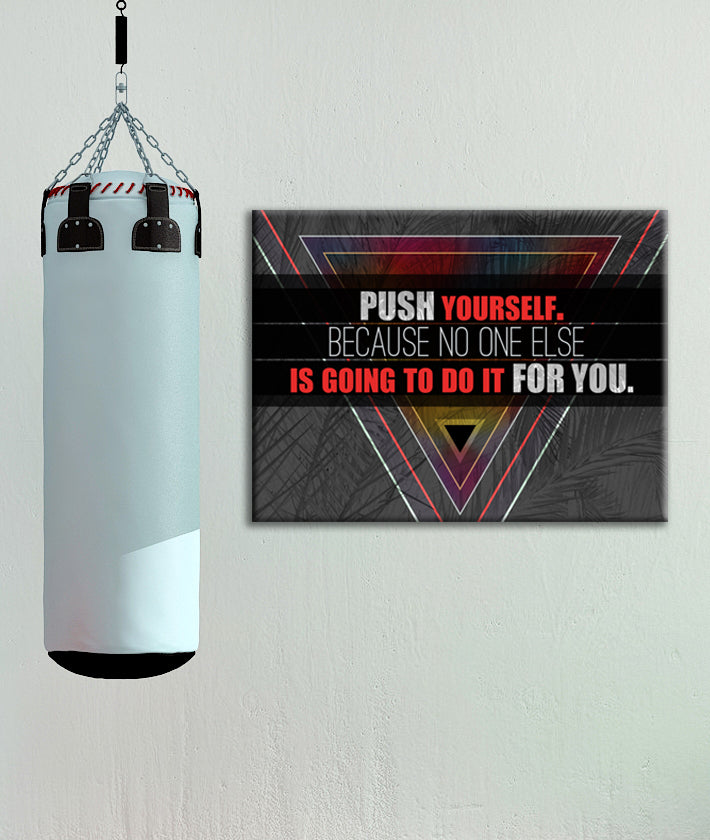 Fitness Wall Art: Push Yourself (Wood Frame Ready To Hang)