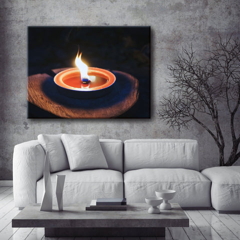 Home Wall Art: Single Flame (Wood Frame Ready To Hang)