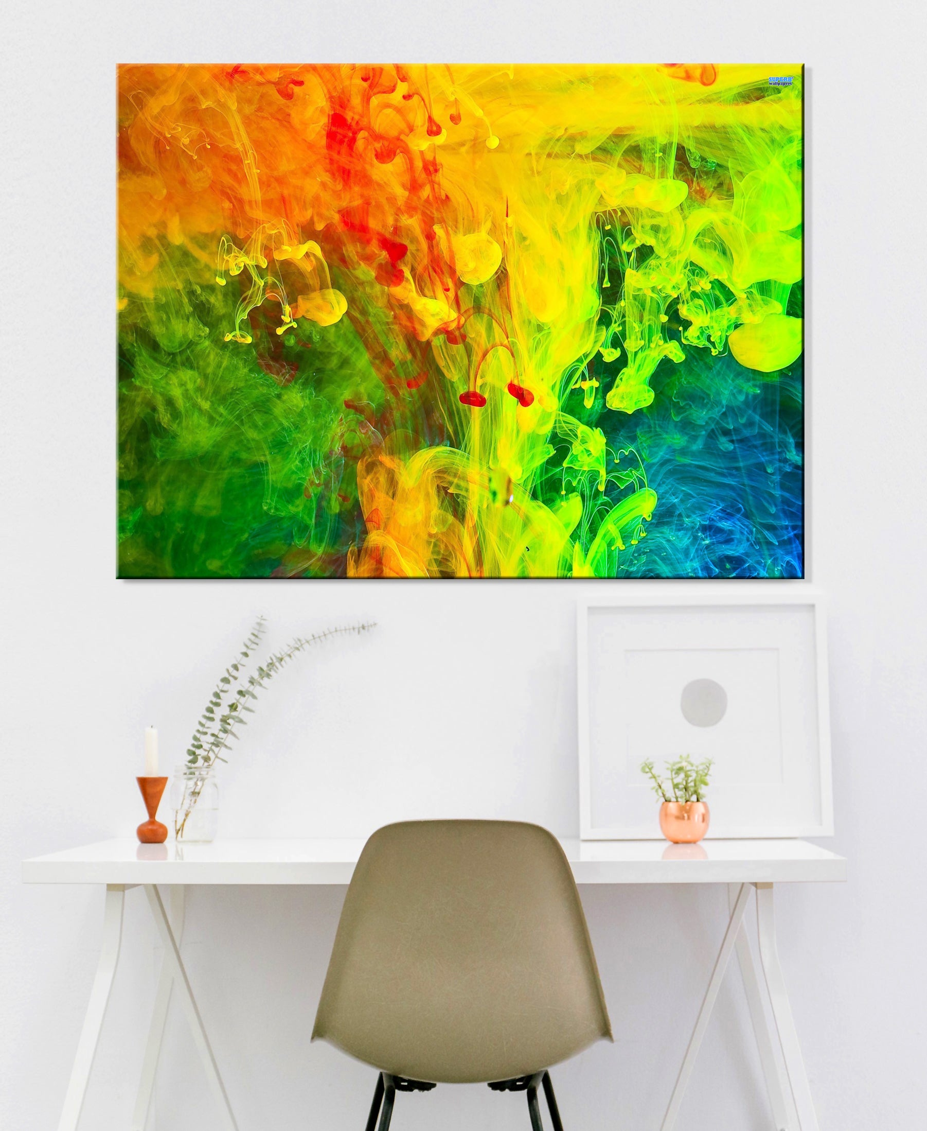 Paint Splash Wall Art: Red Green Yellow Blue Splash Paint (Wood Frame Ready To Hang)