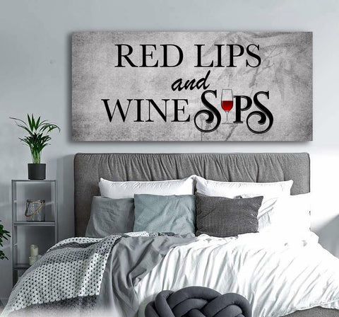 Bedroom Wall Art: Red Lips Wine Sips (Wood Frame Ready To Hang)